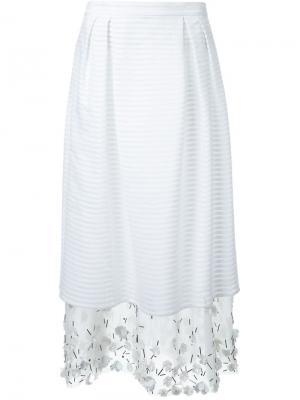 Декорированная многослойная юбка Mother Of Pearl. Цвет: белый