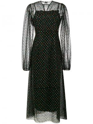 Сетчатое платье в горох Emilia Wickstead. Цвет: чёрный