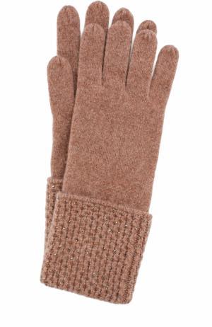 Кашемировые перчатки с отделкой из страз Swarovski William Sharp. Цвет: коричневый