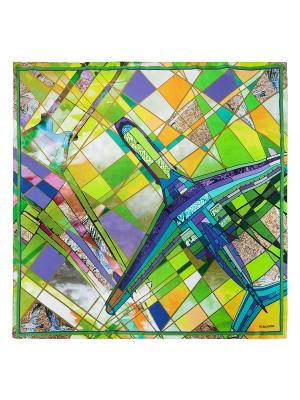 Платок Eleganzza. Цвет: синий, зеленый, салатовый, сиреневый, темно-бежевый