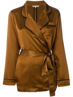 Пижамная рубашка с поясом Gold Hawk. Цвет: коричневый