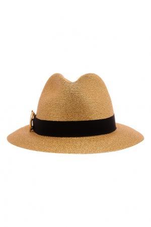 Соломенная шляпа с лентой Ermanno Scervino. Цвет: золотой