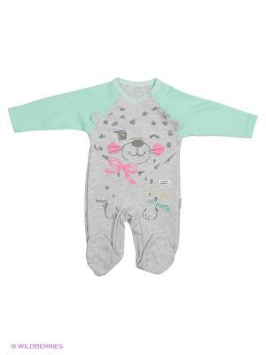 Комбинезон для малышей WO&GO. Цвет: серый меланж, салатовый
