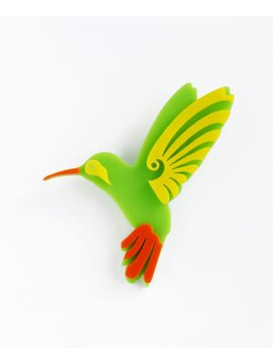 Брошь Колибри цветная НечегоНадеть. Цвет: зеленый
