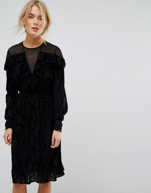 Gestuz Платье с сетчатыми вставками. Цвет: черный