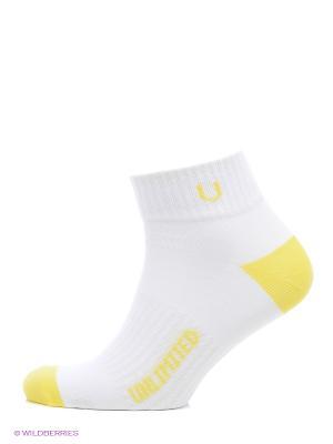 Носки спортивные 5 пар Unlimited. Цвет: белый, желтый