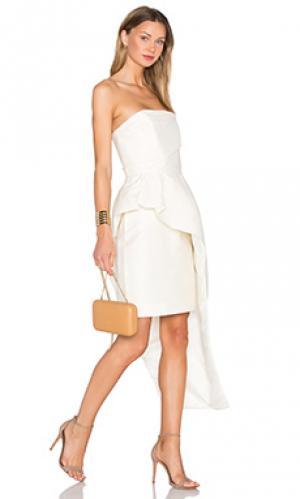 Платье из смеси хлопка и шелка the alston TY-LR. Цвет: ivory