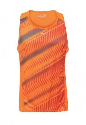 Майка спортивная Mizuno. Цвет: оранжевый