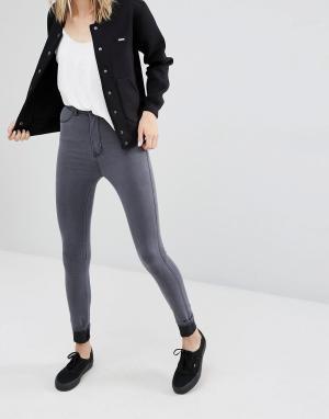 Dr Denim Супероблегающие джинсы с завышенной талией Solitaire. Цвет: серый
