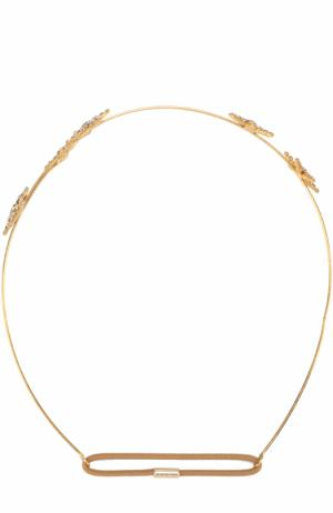 Повязка для волос Venus Circlet с кристаллами Jennifer Behr. Цвет: золотой