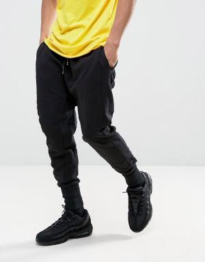 New Look Черные джоггеры с заниженным кроем и вставками. Цвет: черный
