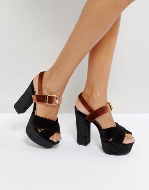 QUPID Бархатные сандалии на платформе. Цвет: черный