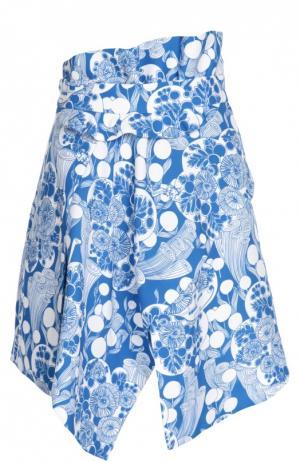 Асимметричная мини-юбка с контрастным принтом Carven. Цвет: синий