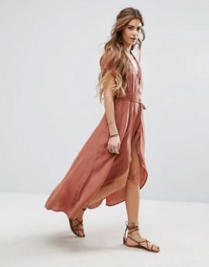 Honey Punch Чайное платье с запахам. Цвет: розовый