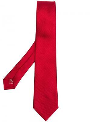Жаккардовый галстук в елочку Brioni. Цвет: красный