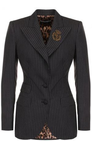 Приталенный шерстяной жакет в полоску Dolce & Gabbana. Цвет: серый