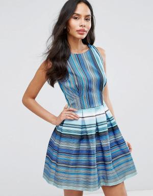 Closet London Короткое приталенное платье в полоску. Цвет: синий