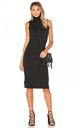 Вязаное платье без рукавов с высоким воротом Autumn Cashmere. Цвет: уголь
