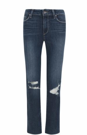 Укороченные расклешенные джинсы с потертостями Paige. Цвет: синий