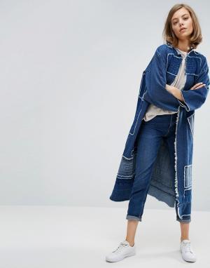 Waven Удлиненное пальто-кимоно в стиле пэчворк Johan. Цвет: синий