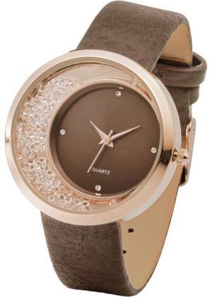 Наручные часы со стразами (серебристый) bonprix. Цвет: серебристый