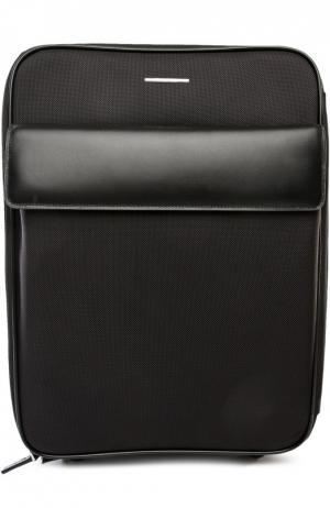 Дорожный чемодан с кожаной отделкой Ermenegildo Zegna. Цвет: черный