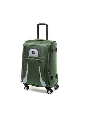 Чемодан-дорожная сумка на колесиках, размер M, 57.8 л Sun Voyage. Цвет: зеленый