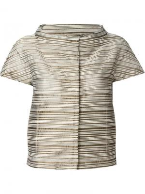 Укороченный пиджак с воротником-стойкой Herno. Цвет: коричневый