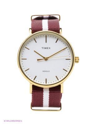 Часы TIMEX. Цвет: золотистый, бордовый