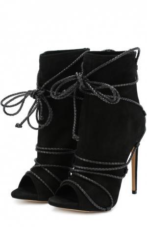 Замшевые ботильоны Liza New с декоративной шнуровкой Aleksandersiradekian. Цвет: черный