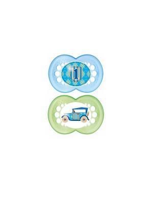Пустышка силиконовая MAM Original  2 шт. 6-16 месяцев. Цвет: зеленый, голубой