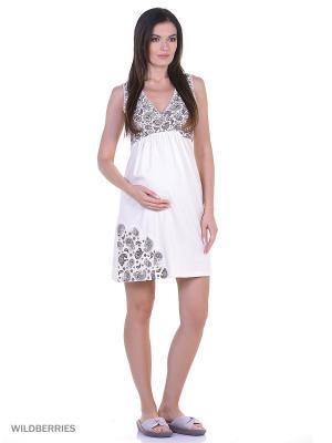 Комплект женский для беременных и кормящих (халат+сорочка) Hunny Mammy. Цвет: коричневый, молочный