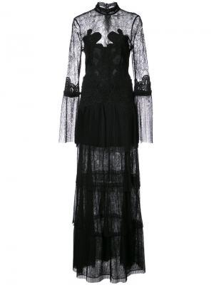 Длинное платье с кружевной вставкой Jonathan Simkhai. Цвет: чёрный