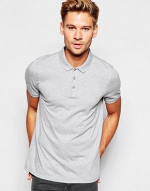 ASOS Серая меланжевая футболка-поло. Цвет: серый