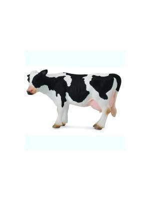 Корова, L  12 см Collecta. Цвет: черный, белый