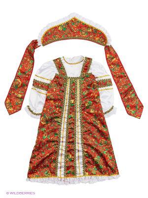Карнавальный костюм Аленушка Батик. Цвет: темно-красный, коричневый, бледно-розовый