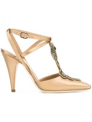 Туфли с украшением в виде змеи Alberta Ferretti. Цвет: телесный