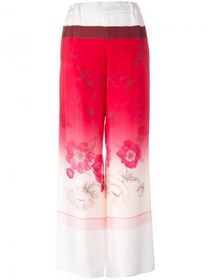 Широкие брюки с цветочным принтом Salvatore Ferragamo. Цвет: розовый и фиолетовый