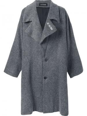 Объемное пальто Icosae. Цвет: серый