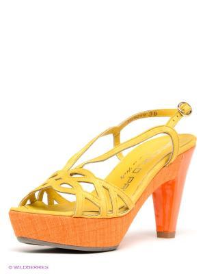 Босоножки GIANCARLO PAOLI. Цвет: желтый, рыжий