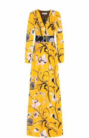 Платье-макси с цветочным принтом и контрастным поясом Emilio Pucci. Цвет: желтый