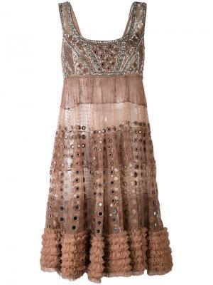Декорированное мини-платье Amen. Цвет: телесный