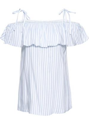 Блузка с вырезом-кармен (синяя пудра/кремовый в полоску) bonprix. Цвет: синяя пудра/кремовый в полоску