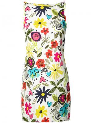 Платье-шифт с цветочным принтом Trina Turk. Цвет: белый