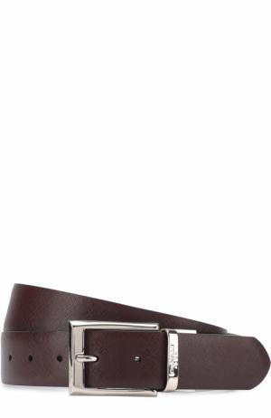Кожаный ремень с металлической пряжкой Canali. Цвет: бордовый