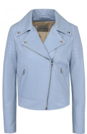 Приталенная кожаная куртка с косой молнией Yves Salomon. Цвет: голубой