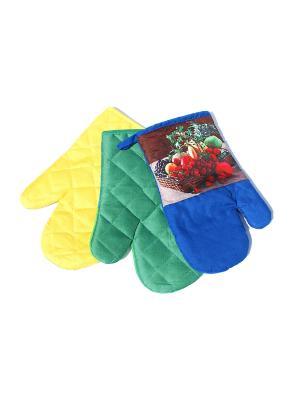 Комплект прихваток 3 предмета, Ягоды La Pastel. Цвет: желтый, синий, зеленый