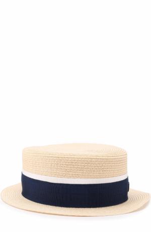Соломенная шляпа с лентой Maison Michel. Цвет: светло-бежевый
