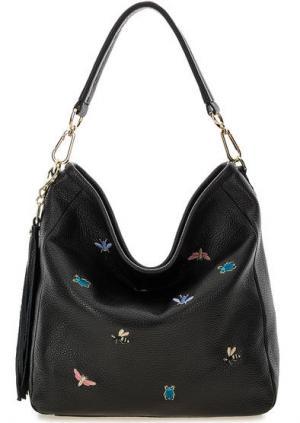 Черная кожаная сумка на молнии и с длинной ручкой Curanni. Цвет: черный