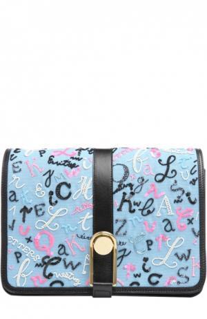 Сумка Victoire с вышивкой бисером и пайетками Olympia Le-Tan. Цвет: голубой